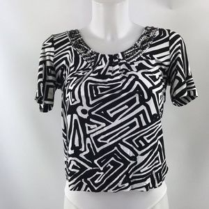 St. John Black & White Short Sleeve Size Petite